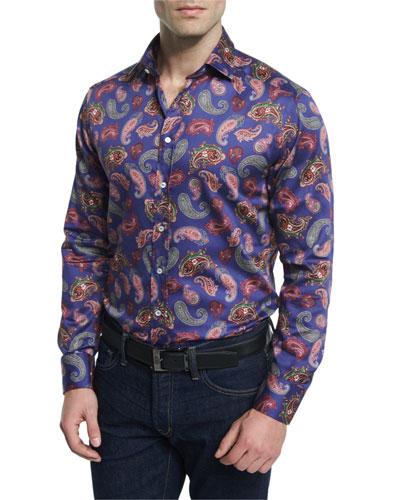 Multi Paisley-Print Long-Sleeve Sport Shirt, Blue Multi
