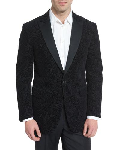 Jacquard Paisley-Print Evening Jacket, Black