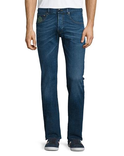 Five-Pocket Slim-Fit Denim Jeans, Medium Blue