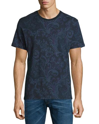 Paisley-Print Short-Sleeve Crewneck T-Shirt, Navy Multi