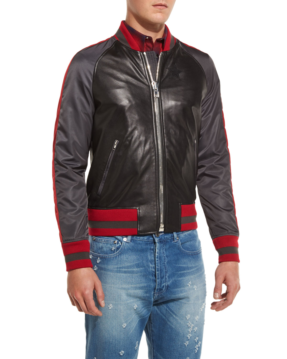 e775612d Givenchy Mixed-Media Bomber Jacket, Black Multi | Neiman Marcus