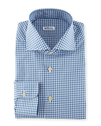 Box-Check Woven Dress Shirt, Blue