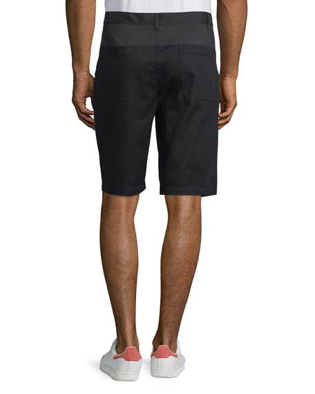 Single-Pleat Slim-Fit Shorts, Black/Dark Indigo
