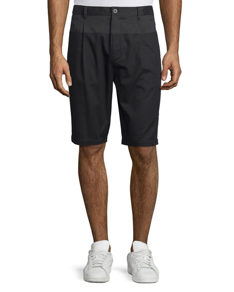 Helmut Lang Single-Pleat Slim-Fit Shorts, Black/Dark Indigo