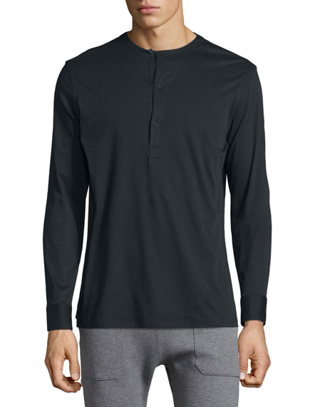 Helmut lang long sleeve henley shirt black for Black long sleeve henley shirt