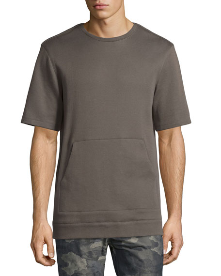 Helmut LangOversized Short-Sleeve Sweater, Olive Slate