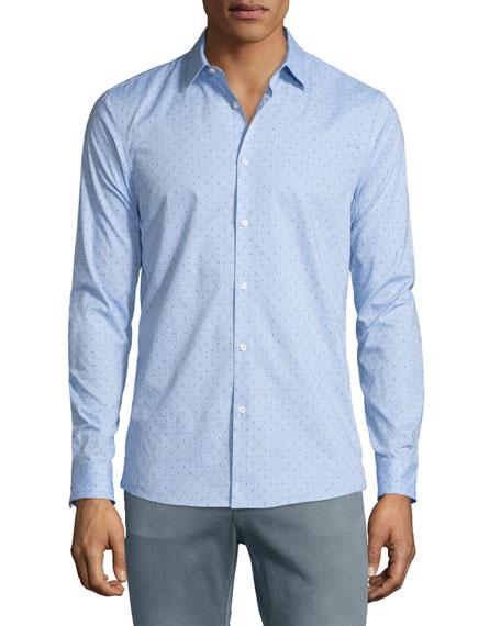 Michael Kors Beven Mel Dot-Print Long-Sleeve Sport Shirt,