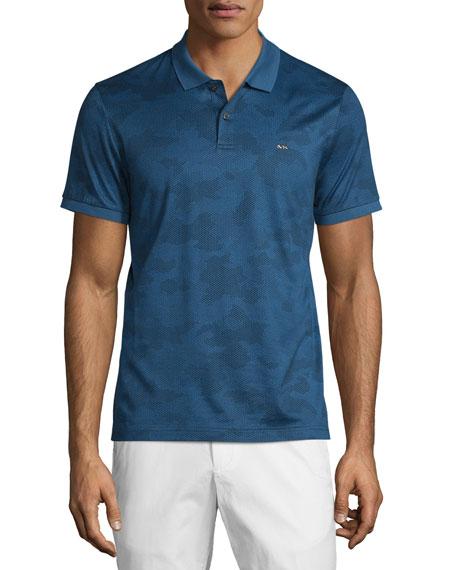 b769119e Michael Kors Tonal Camo-Print Short-Sleeve Polo Shirt, Prussian Blue