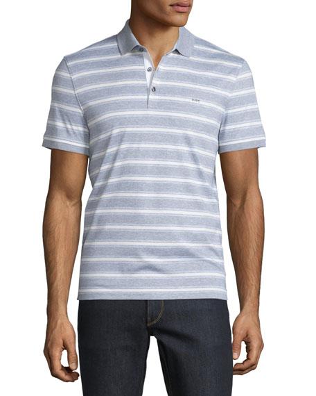 Michael Kors Bold Bar-Striped Short-Sleeve Polo Shirt, Heather