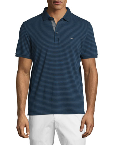 Textured Striped Short-Sleeve Pique Polo Shirt, Midnight
