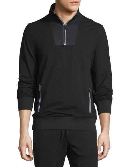 Michael Kors Mesh-Trim Half-Zip Pullover Sweater, Black