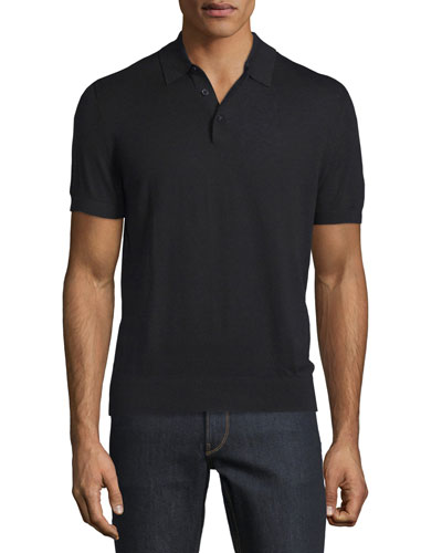 Cotton/Silk Short-Sleeve Polo Shirt, Black
