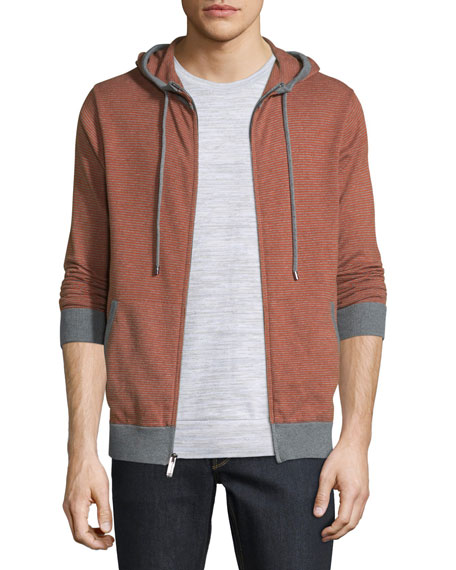 Michael Kors Feeder Stripe Zip-Up Hoodie, Cadmium Orange