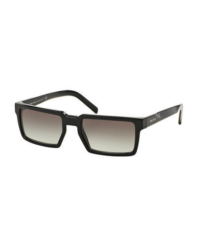 Thick-Rim Rectangular Sunglasses, Black