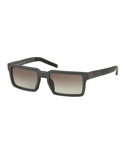 Thick-Rim Rectangular Aluminum Sunglasses, Gray