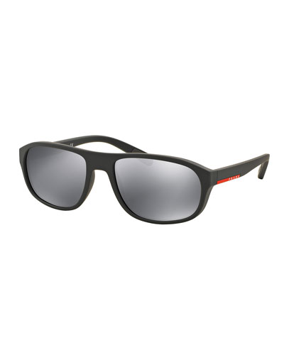 Rectangular Nylon Sunglasses, Gray