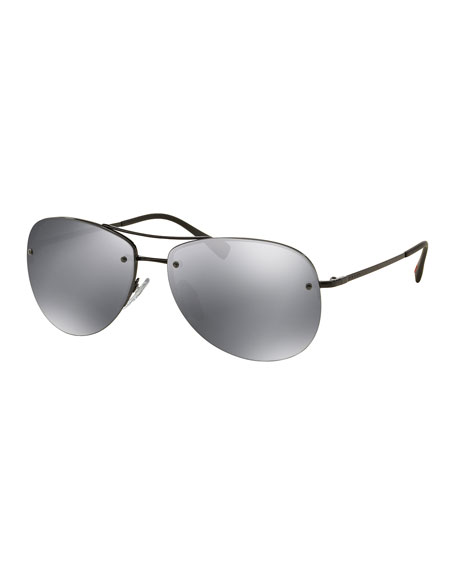Prada Rimless Metal Aviator Sunglasses, Black