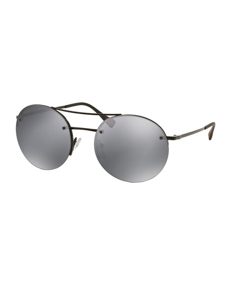 Prada Rimless Round Sunglasses with Mirror Frames, Gray