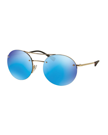 Prada Rimless Round Sunglasses with Mirror Frames, Blue