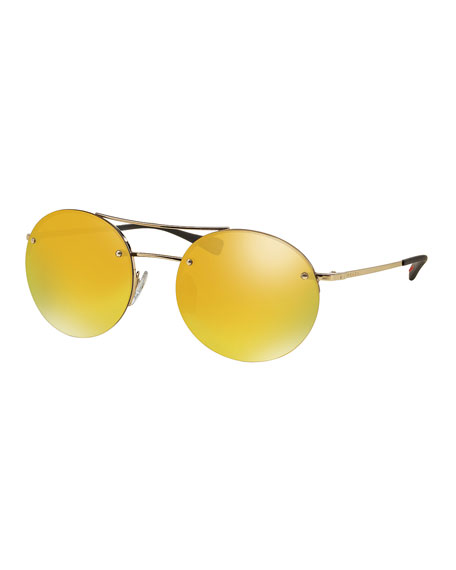 Prada Rimless Round Sunglasses with Mirror Lenses, Gold | Neiman Marcus