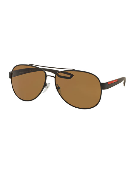 Prada Metal Aviator Sunglasses, Brown