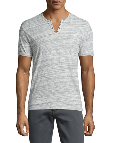 Heathered Short-Sleeve Henley T-Shirt, Gray