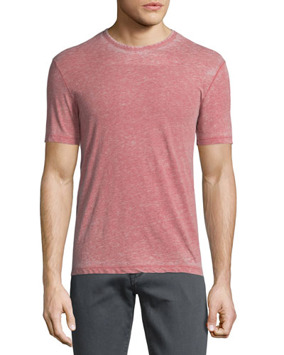 Burnout Short-Sleeve Crewneck T-Shirt, Brick Red