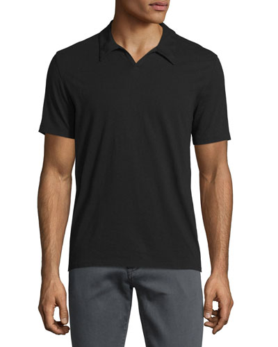 Johnny-Collar Short-Sleeve Polo Shirt, Black