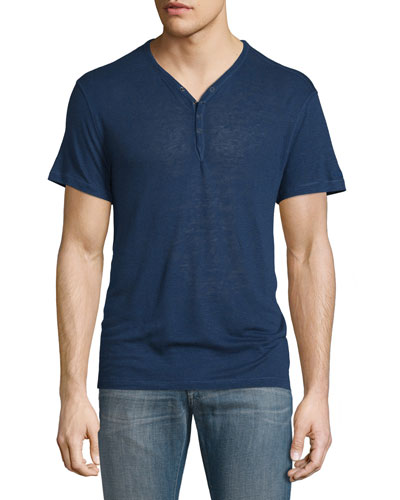 Short-Sleeve Linen-Blend Henley T-Shirt, Regal Blue