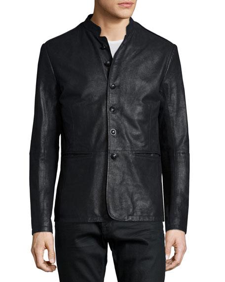 Band-Collar Leather Jacket, Black