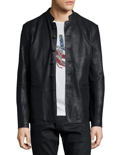 Band-Collar Leather Jacket, Black