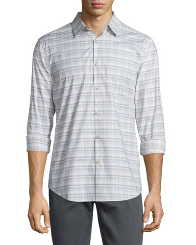 Plaid Slim-Fit Sport Shirt, Chalk
