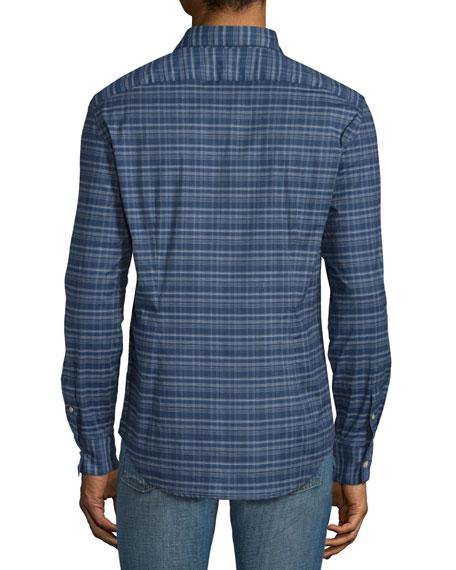 Plaid Slim-Fit Sport Shirt, Twilight Blue
