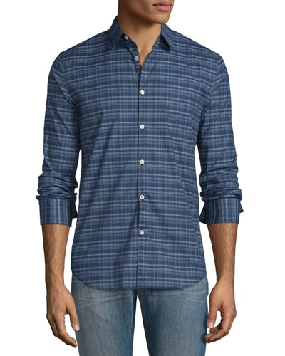 Plaid Slim-Fit Sport Shirt, Twilight Blue