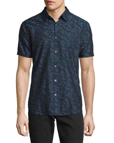 John Varvatos Star USA Camo-Print Short-Sleeve Shirt, Indigo