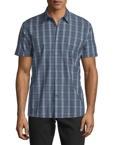 Check Short-Sleeve Woven Shirt, Dusted Blue