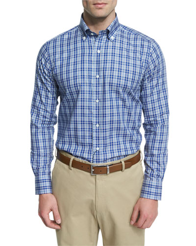 Plaid Long-Sleeve Sport Shirt, Dark Blue