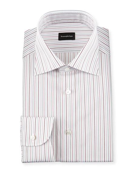 Ermenegildo Zegna Multi-Stripe Woven Dress Shirt, Open White