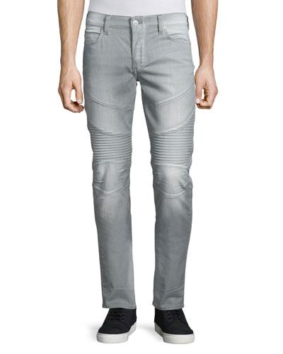 Rocco Overcast Moto Denim Jeans, Faded Slate