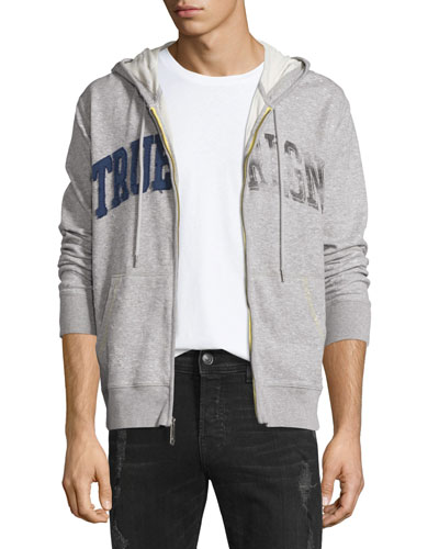 Distressed-Logo Zip-Up Hoodie, Heather Gray