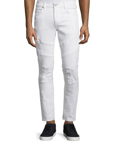 Geno Distressed Moto Jeans, Optic White