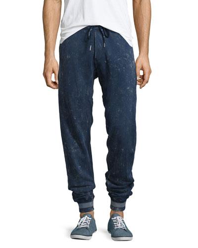 Distressed Drawstring Sweatpants, Navy