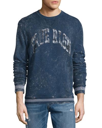 Distressed Logo Crewneck Sweatshirt, Navy