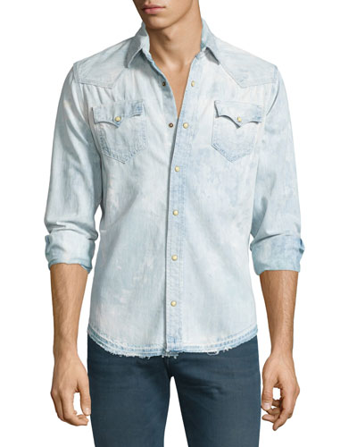 Ryan Bleached & Faded Western-Style Shirt, Pacific Water