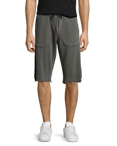 Mesh-Sides Drawstring Sweat Shorts, Concrete