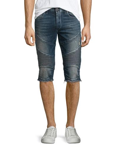 Geno Slim-Fit Cutoff Moto Shorts, Concrete Lake