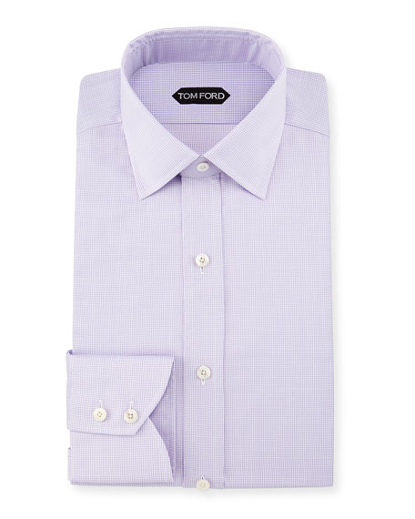 TOM FORD Micro-Houndstooth Slim-Fit Dress Shirt, Light Purple