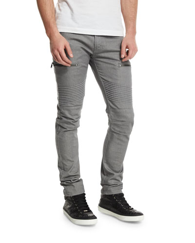 Acrux Skinny-Fit Moto Jeans, Rinse Coxa