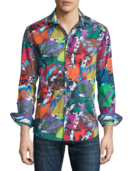 Robert Graham Cholla Cactus Printed Long-Sleeve Sport Shirt,