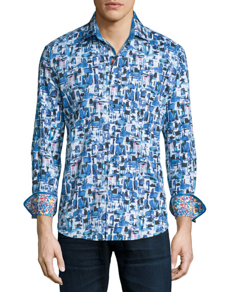 Robert Graham Salton Sea Printed Long-Sleeve Sport Shirt,